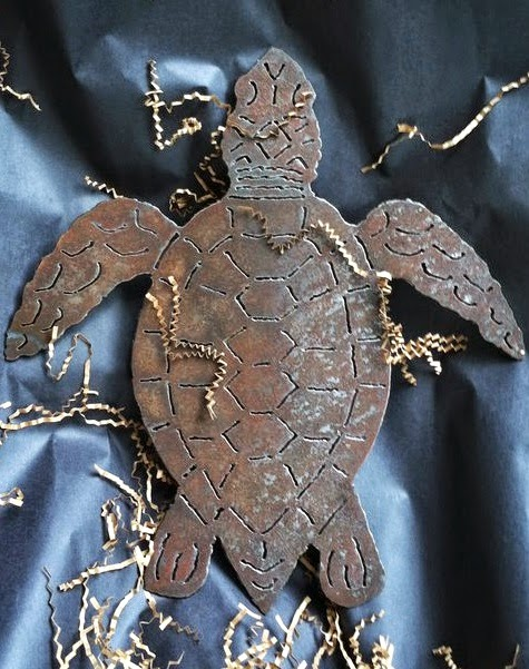 Vintage Black and White Metal Sea Turtle Wall Sculptures from The Iron Fish