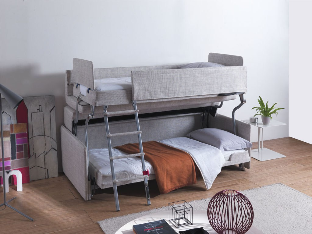 Sofa cama litera convertible camas para espacios peque os for Sofa que se hace litera
