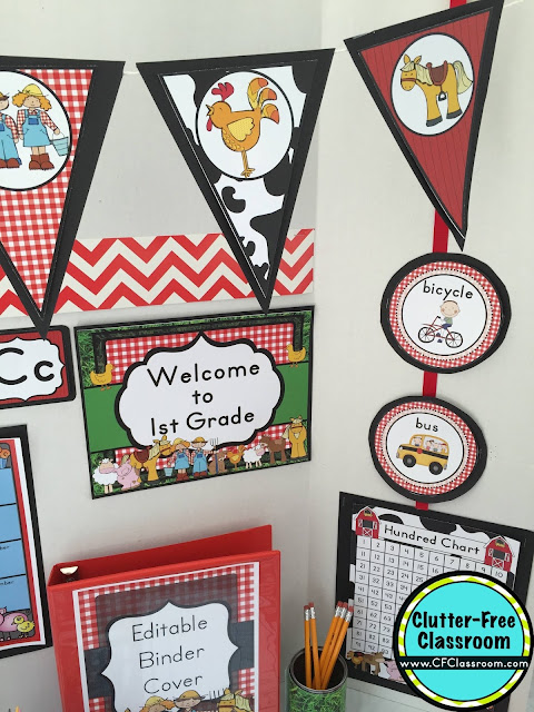 Are you planning a farm themed classroom or thematic unit? This blog post provides great decoration tips and ideas for the best farm theme yet! It has photos, ideas, supplies & printable classroom decor to will make set up easy and affordable. You can create a farm theme on a budget!