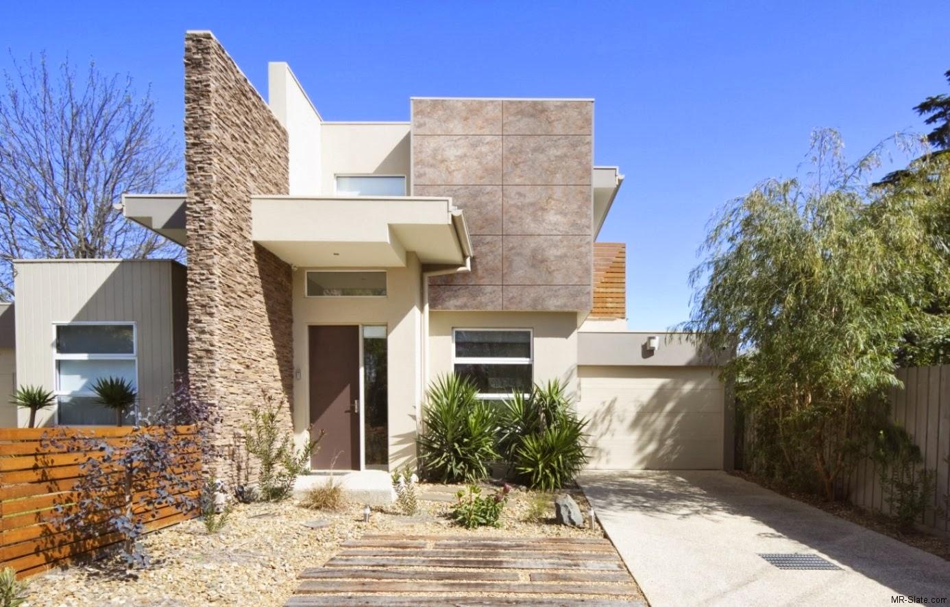 Decoracion actual de moda fachadas de casas modernas for Piedras para fachadas minimalistas