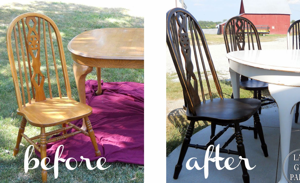 black farmhouse chairs tot sprout high chair review lake girl paints painting furniture shortcut spraypaint