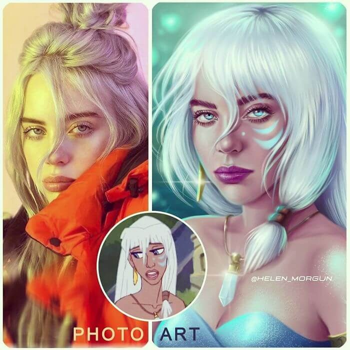 02-Billie-Eilish-As-Kida-Nedakh-Helen-Morgun-Celebrities-and-Disney-www-designstack-co