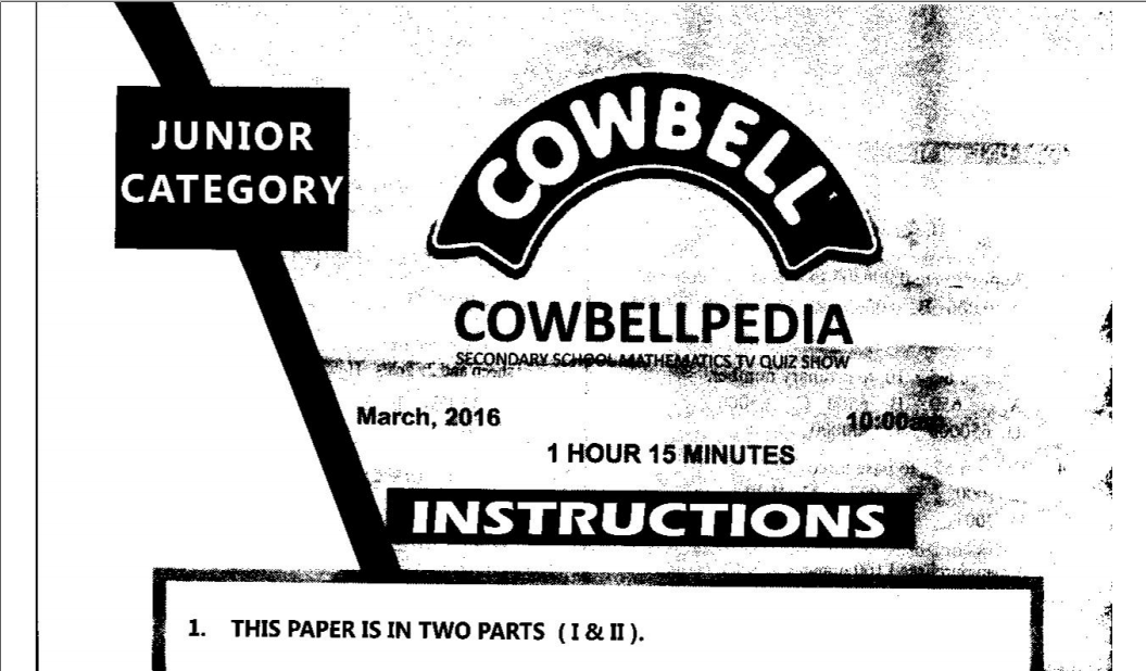 Cowbell Maths Competition Past Questions & Answers : Free