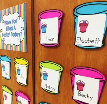 Display the buckets labelled with students names so students can put bucket notes into their friend's bucket