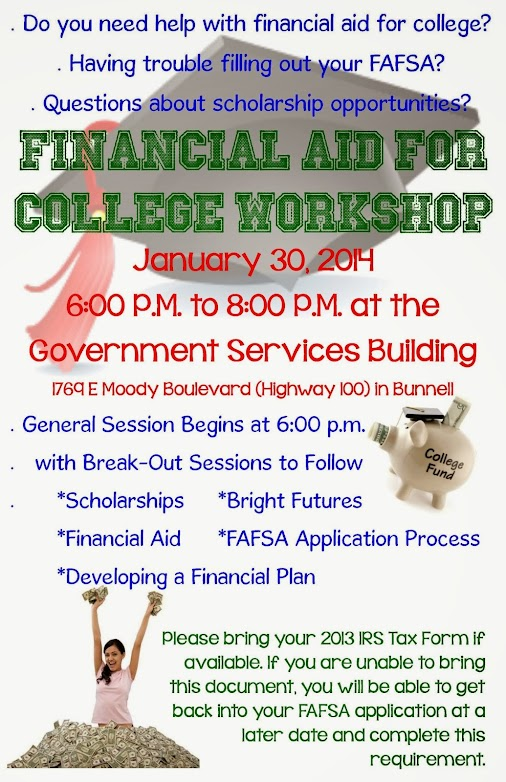 Two FREE workshops on getting thousands of dollars for your child's college education will be hosted...