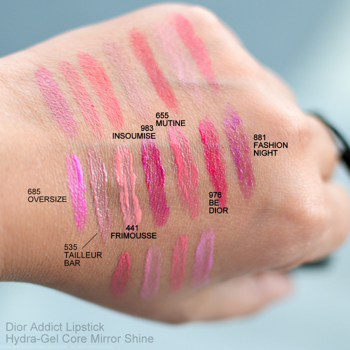 Dior Addict Hydragel Core Mirror Shine Lipsticks New Fall 2015 Swatches 685 Oversize 535 Tailleur Bar 441 Frimousse 983 Insoumise 655 Mutine 976 Be Dior 881 Fashion Night