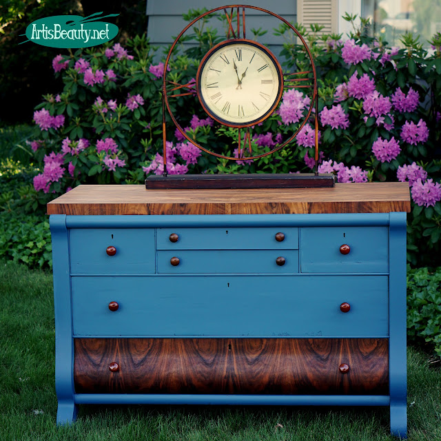 beautiful antique empire style buffet dresser given custom makeover using general finishes milk paint in a custom blue