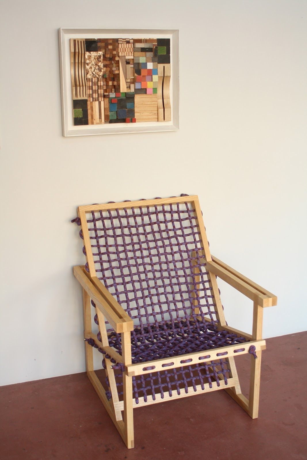 ANZFER FARMS woven arm chair made from reclaimed climbing rope and ash