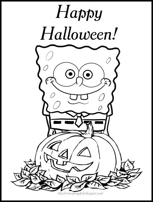 spongebob halloween coloring pages 2 - Coloring Pages Spongebob Halloween
