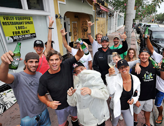 Surfers party on South Beach, screaming 'F— you, Irma!'