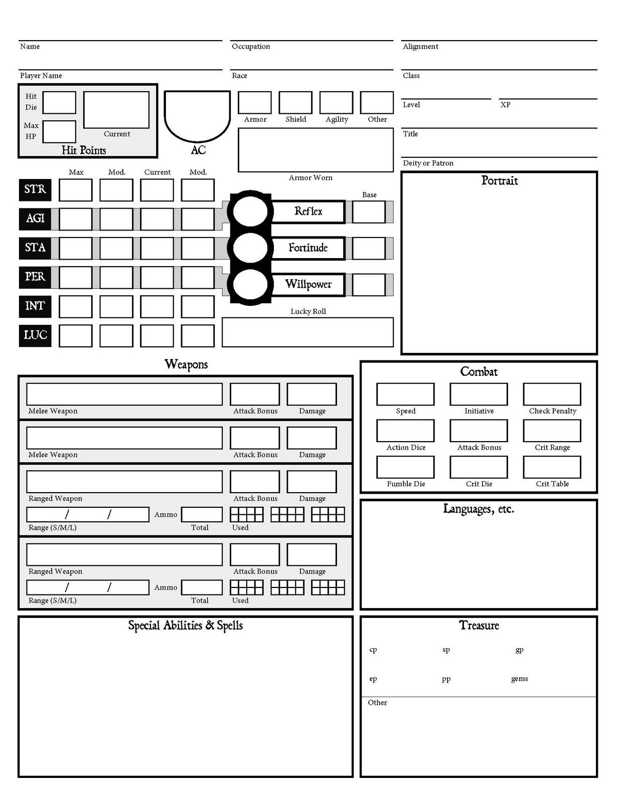 People Them With Monsters Another Dcc Rpg Character Sheet