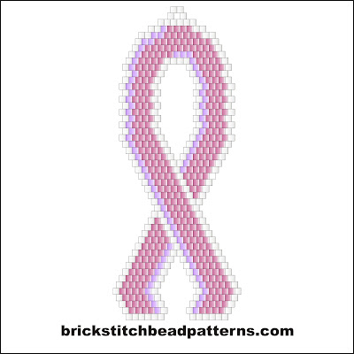 Click for a larger image of the Large Pink Ribbon brick stitch bead pattern.