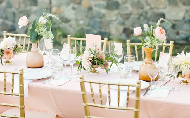 The Bride And Carter Cook Event Co Created A Lovely Colour Palette Of Dusty Pink Cream Peach Gold Mint Green Outdoor Tablescapes Are Just