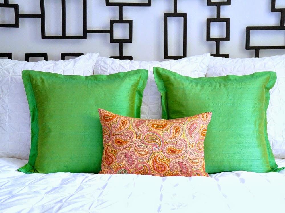 Green silk accent pillows