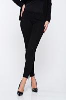 Pantaloni Artista negri office conici accesorizati cu fermoar • Artista