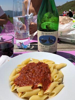 Pasta at Rifugio Gherardi.