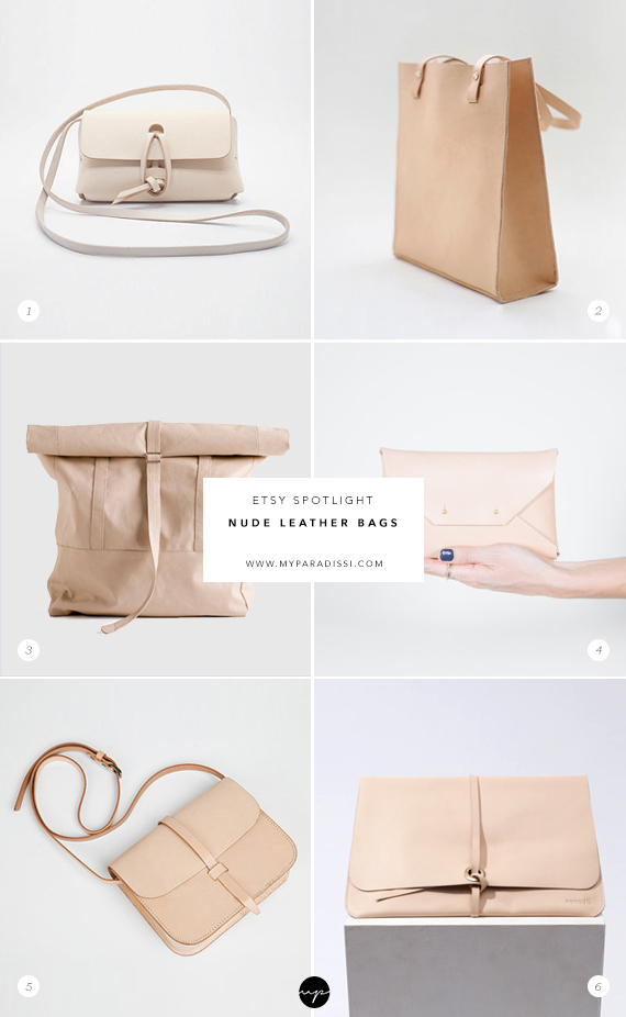 Nude leather bags, purses, backpacks, handmade totes on Etsy