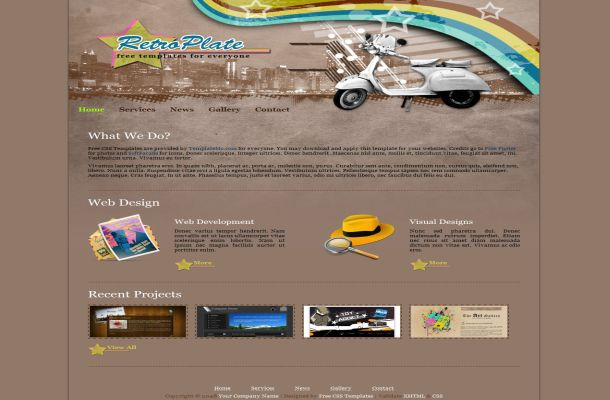 Free Vector Brown Retro HTML Website Template