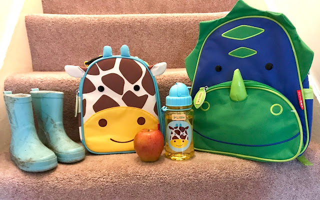 Wellies, a giraffe lunch bag, apple, giraffe drink bottle and dinosaur backpack lined up on a step