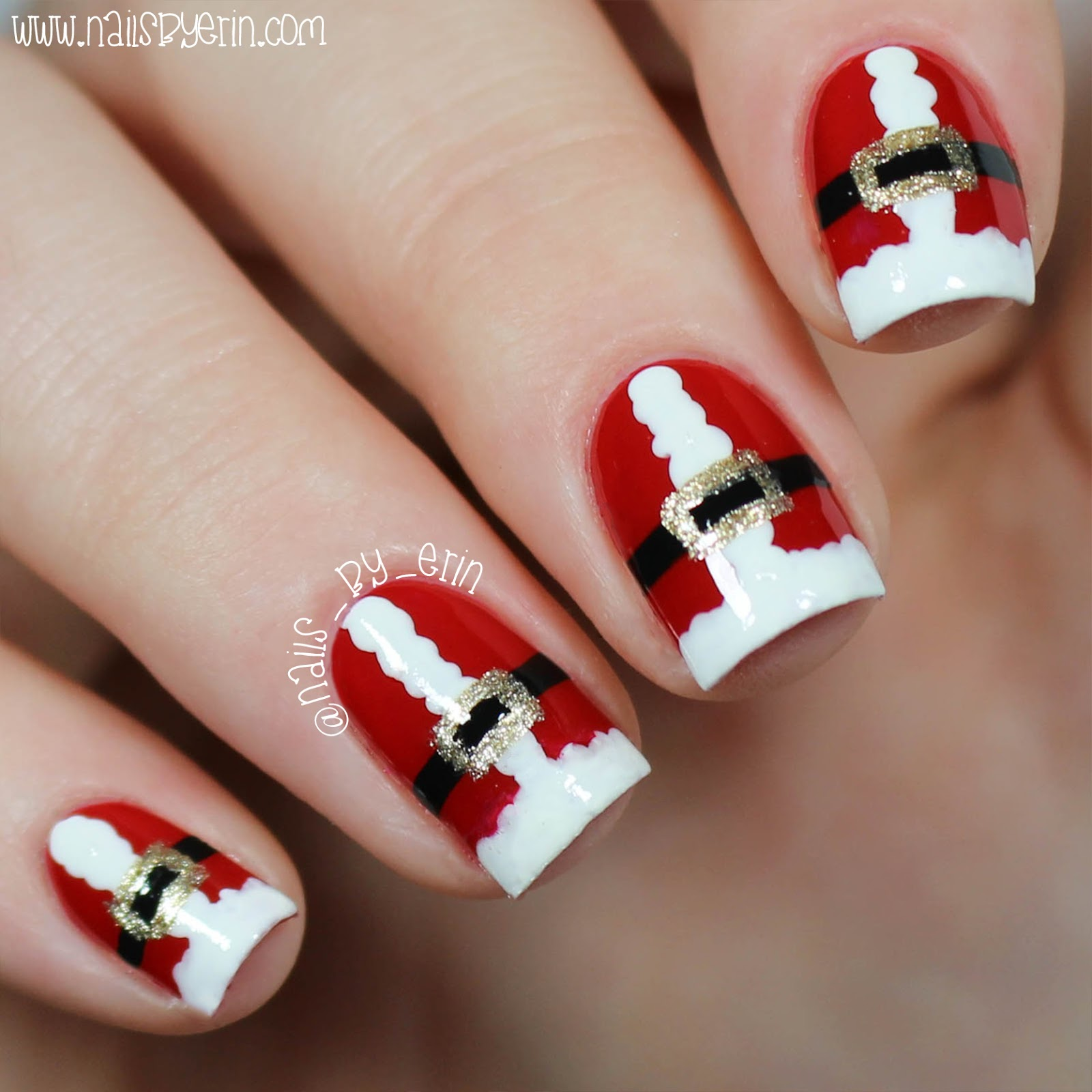 NailsByErin: Easy Santa Suit Nails