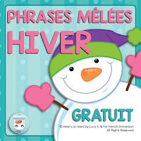 FREE French Winter Scrambled Sentences: phrases mêlées. HIVER