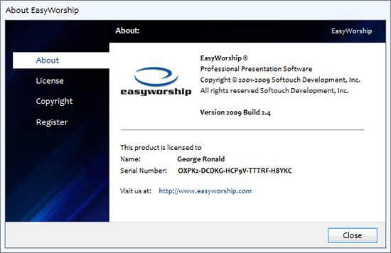 EasyWorship 2009 Build 2.4 Activation Detail