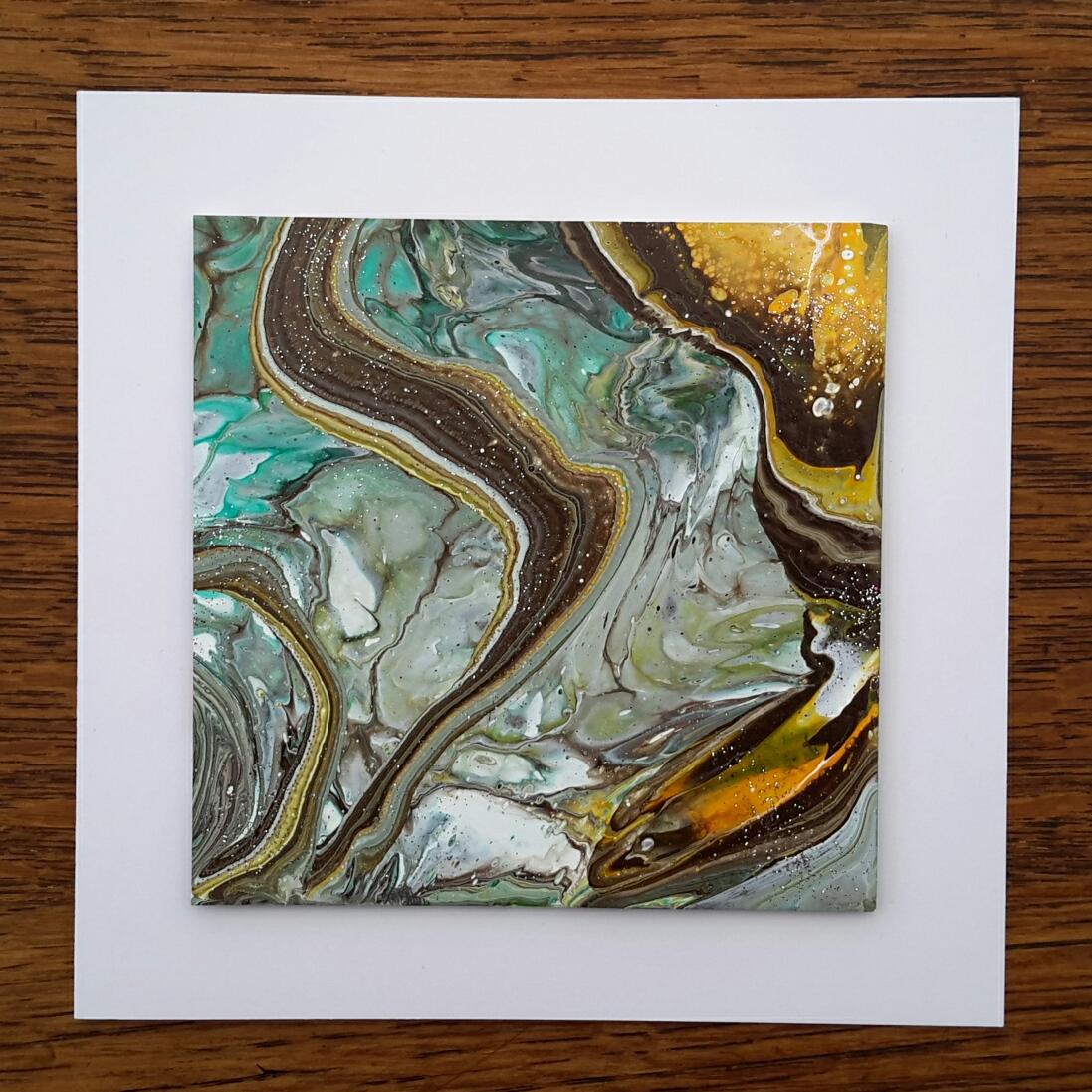 Janey's Cards: Acrylic Pouring No 1 (Revisited)