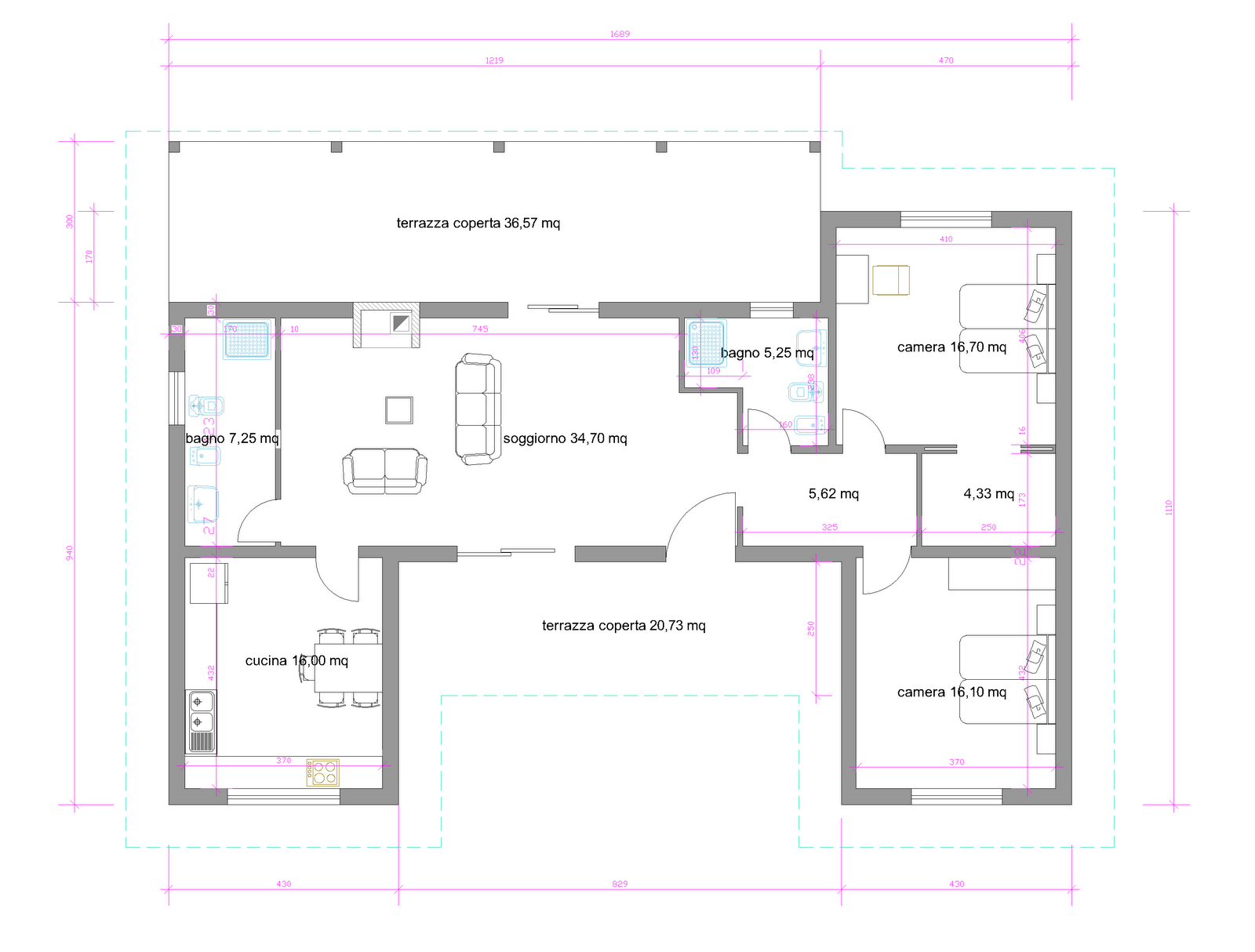 Progetti di case in legno casa 129 mq porticati 57 mq for Progetti case interni
