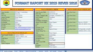Format Buku Raport Kurikulum 2013 Revisi 2016 untuk SD .xls