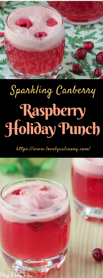 Cranberry Raspberry Holiday Punch #nonalcoholic #sherbetpunch