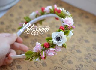 ручная работа, ободок, ободок для волос, ободок с розами, анемоны, розы, handmade, fimo, roses, hair band, anemon,