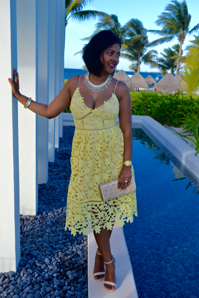 yellow lace dress for a beach wedding in cancun