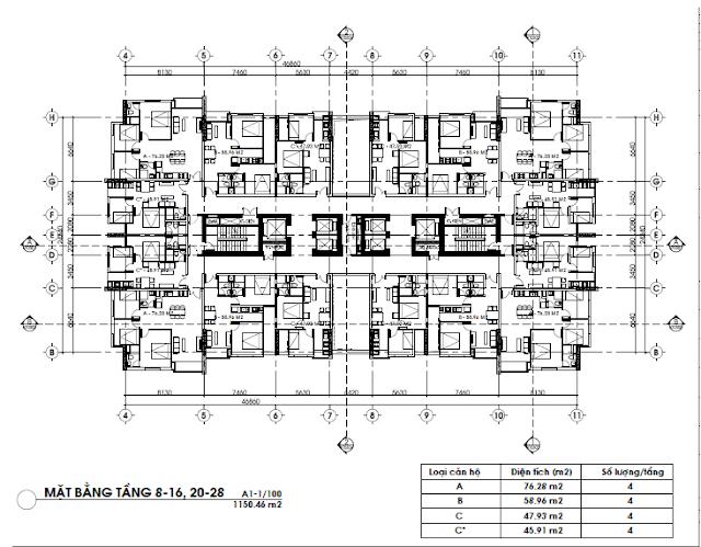 Mặt bằng tầng căn hộ 8 đến 16 và 20 đến 28, FLC Green Home