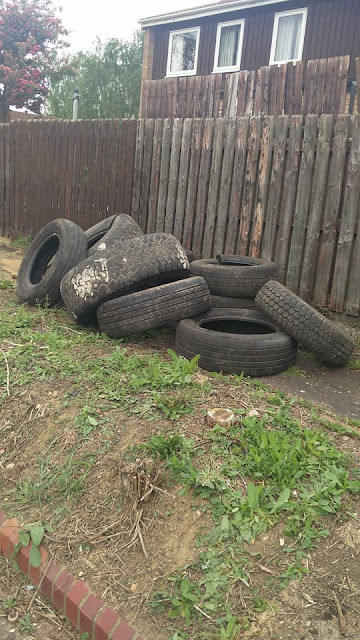 A pile of tyres fly-tipped in Orton Goldhay.