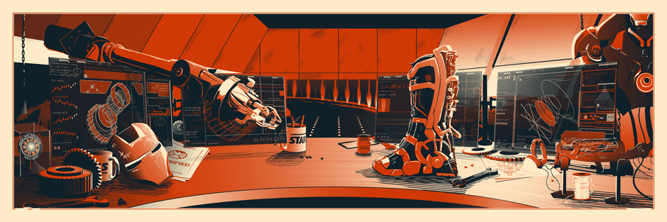 """The Desk of Mr. Stark"" Marvel's Iron Man Screen Print by Rob Loukotka"
