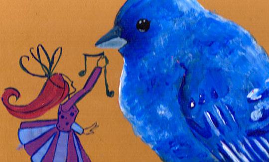 Ilustración, Pájaro azul de Maria Paula Acero Guevara