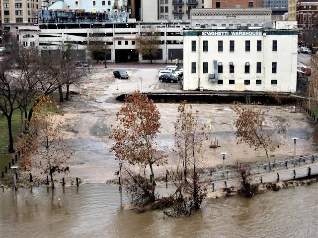 Spaghetti Warehouse Downtown with high water in Buffalo Bayou