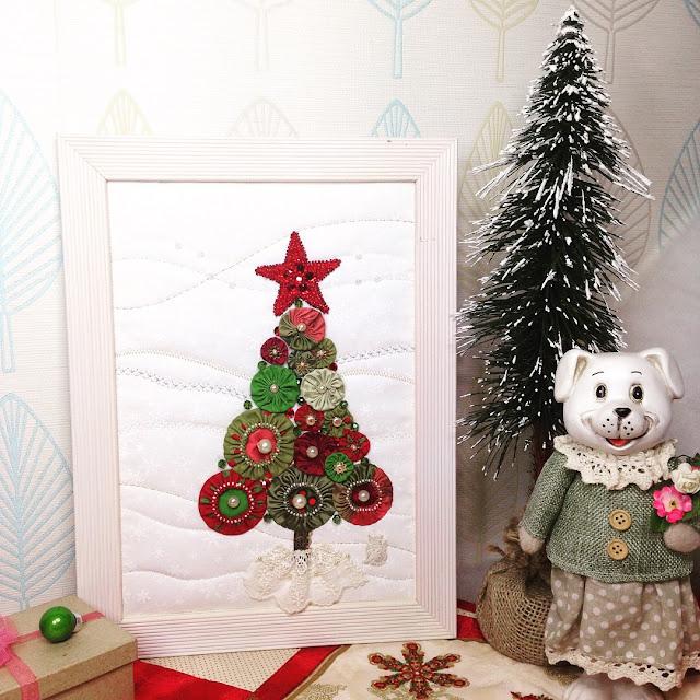 новогоднее панно из йо-йо