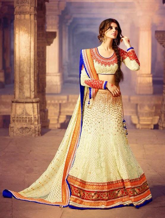 Green And Cream Bridal Lehenga With Matching Net Dupatta & Art Silk Choli
