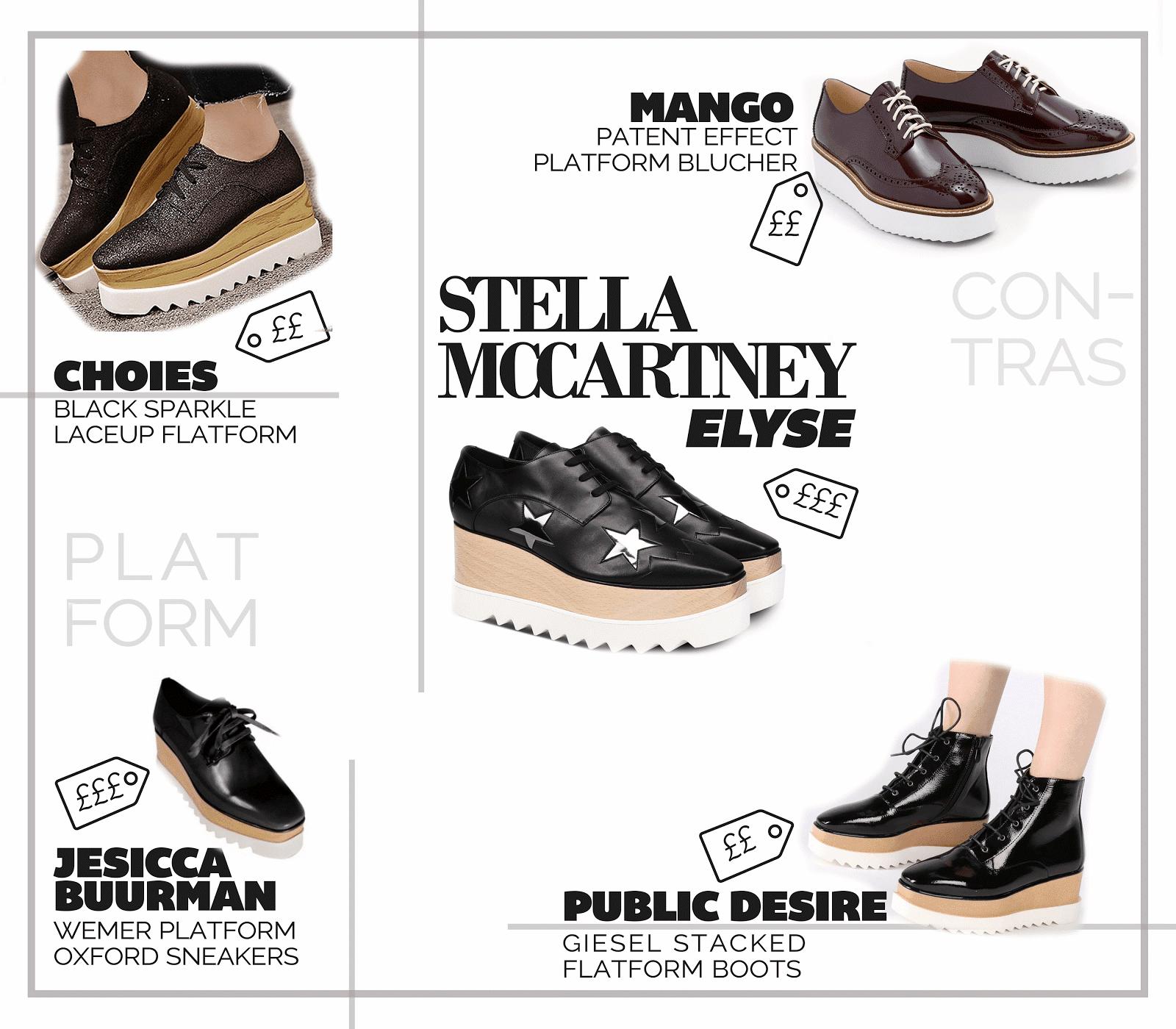 designer shoe stella mccartney elyse britt platform wedges best high street dupes