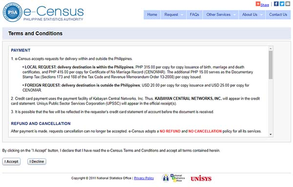 eCensus terms and conditions page