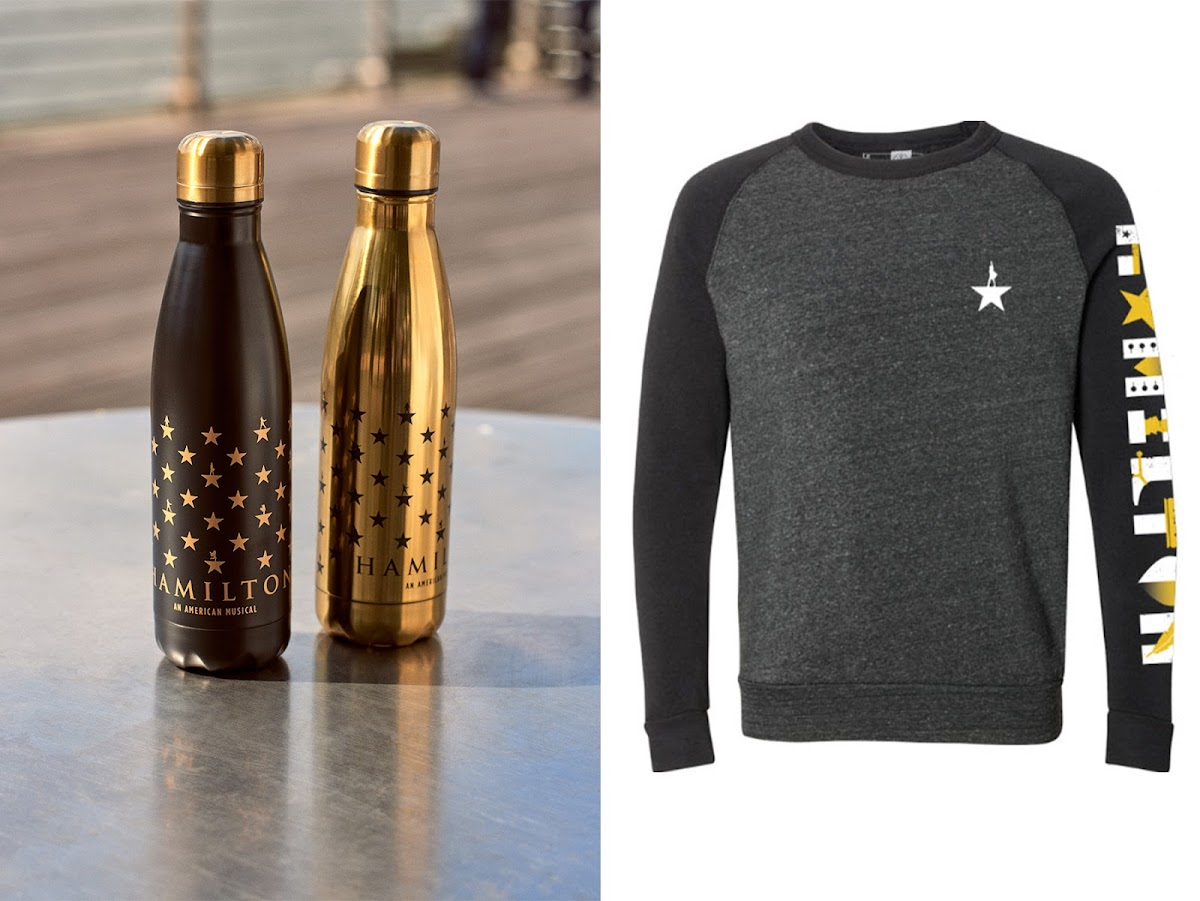Hamilton thermos bottles and sweatshirt