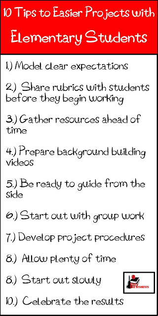 10 Tips to making projects easier for elementary students and lower level students - classroom suggestions from a seasoned teacher at Raki's Rad Resources.