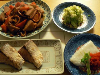 夕食の献立 献立レシピ 飽きない献立 ぶり塩焼き イカ刺し イカと里芋の煮物