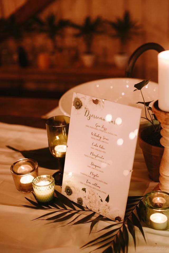 dzērienu karte kāzās