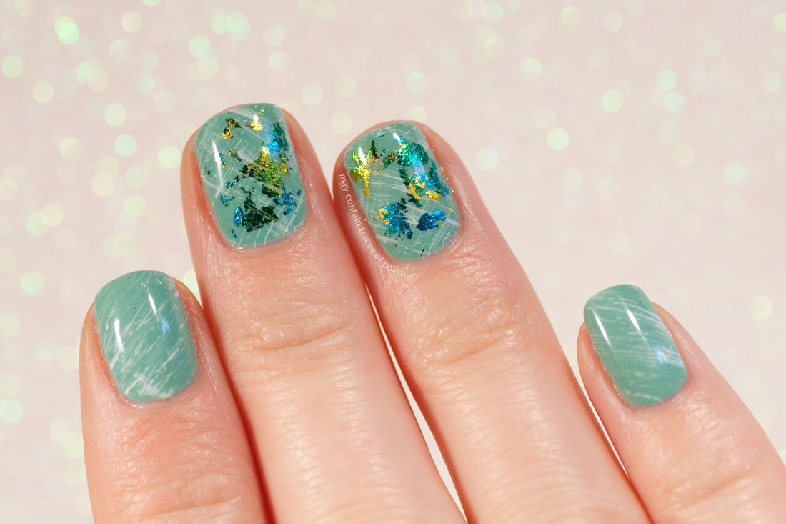 Green Foil Simple Manicure Nail Art
