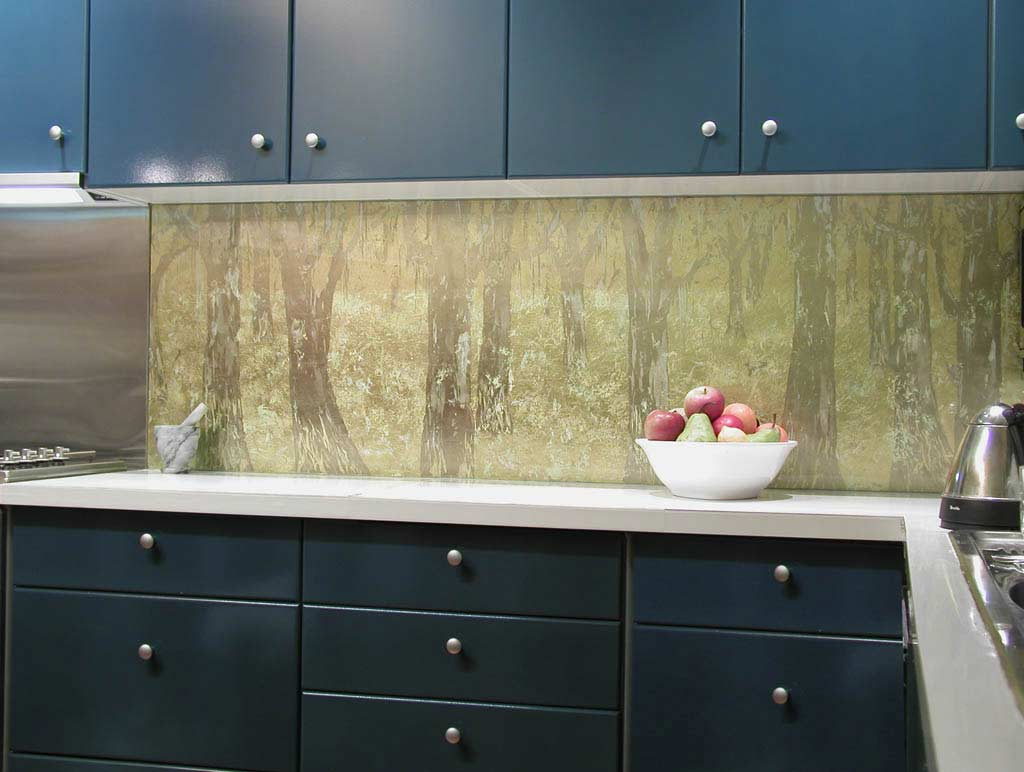 Glass panels for kitchen, apron with decor