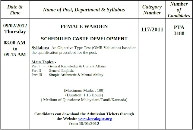 Syllabus of Female Warden