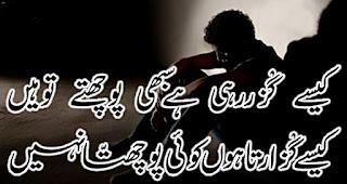 Kesi guzar rahi hai sabhi poochte to hain  Kesay guzaar raha hun koi poochta he nahi Urdu Poetry lovers 2 line Urdu Poetry, Sad Poetry, Dard Shayari,