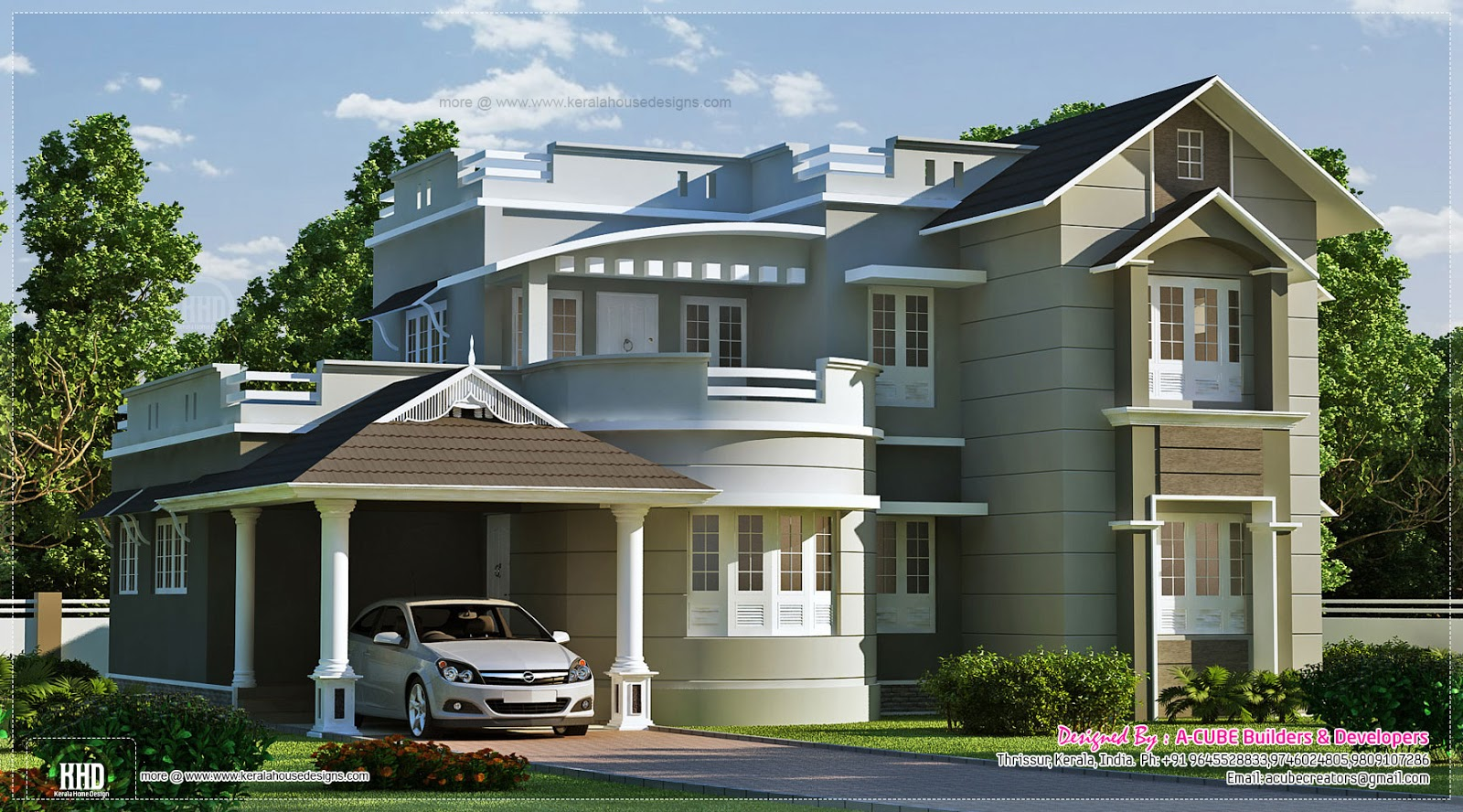 New style home exterior in 1800 kerala home for Beautiful homes photo gallery